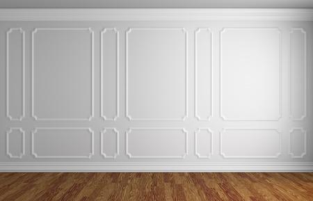 Estilo sencillo clásico entre ilustración - pared blanca con blanco marco decorativo en la pared en el estilo clásico de la habitación vacía con piso de parquet de madera oscura con rodapié blanco, ilustración 3d inter