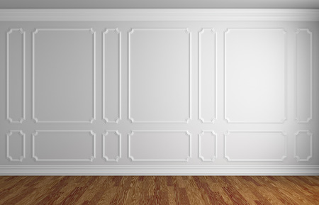 Simple classic style interior illustration - white wall with white decorative frame on the wall in classic style empty room with dark wooden parquet floor with white baseboard, 3d illustration interior