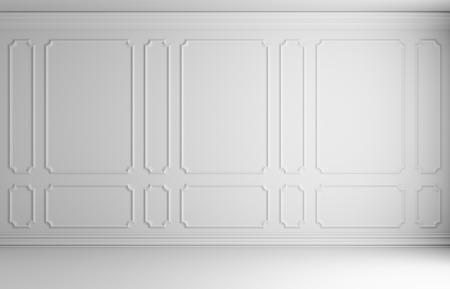 白い床と白いベースボード、3 d イラスト インテリア クラシック スタイル空の部屋の壁に白の装飾的な枠とシンプルなクラシック スタイル非色白い