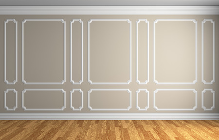 baseboard: Simple classic style interior illustration - beige wall with white decorative frame on the wall in classic style empty room with wooden parquet floor with white baseboard, 3d illustration interior