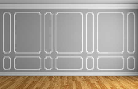 molding: Simple classic style interior illustration - gray wall with white decorative frame on the wall in classic style empty room with wooden parquet floor with white baseboard, 3d illustration interior Stock Photo