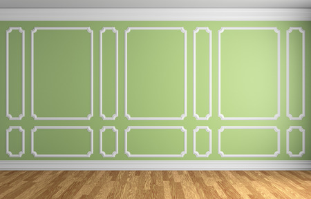 baseboard: Simple classic style interior illustration - light green wall with white decorative frame on the wall in classic style empty room with wooden parquet floor with white baseboard, 3d illustration interior