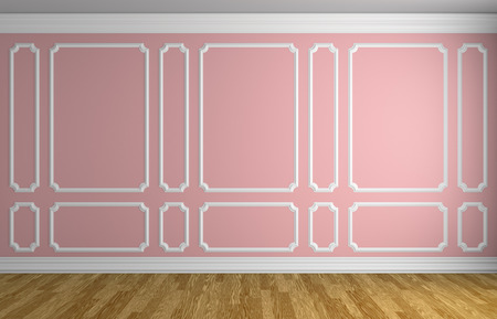 baseboard: Simple classic style interior illustration - pink wall with white decorative frame on the wall in classic style empty room with wooden parquet floor with white baseboard, 3d illustration interior