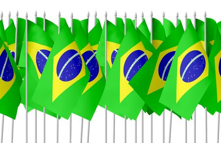 federative republic of brazil: Many small flags of Federative Republic of Brazil in row isolated on white background, seamless, 3d illustration