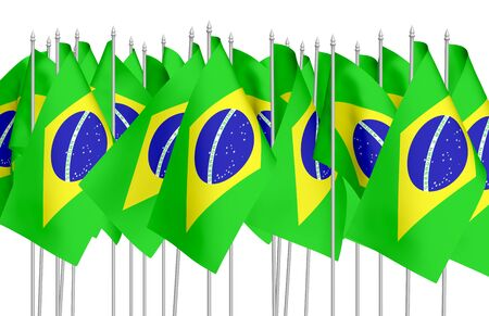 federative republic of brazil: Many small flags of Federative Republic of Brazil in row isolated on white background, 3d illustration