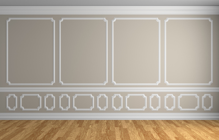 parquet floor: Simple classic style interior illustration - beige wall with white decorative elements on the wall in classic style empty room with wooden parquet floor with white baseboard, 3d illustration interior