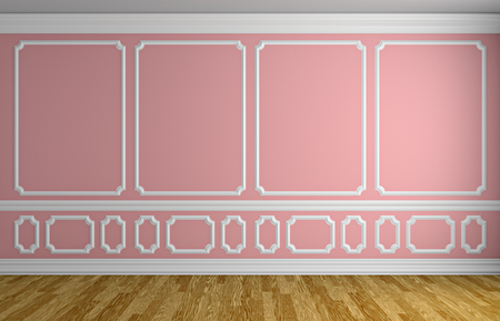 classic style: Simple classic style interior illustration - pink wall with white decorative elements on the wall in classic style empty room with wooden parquet floor with white baseboard, 3d illustration interior
