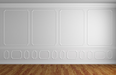baseboard: Simple classic style interior illustration - white wall with white decorative elements on the wall in classic style empty room with wooden parquet floor with white baseboard, 3d illustration interior
