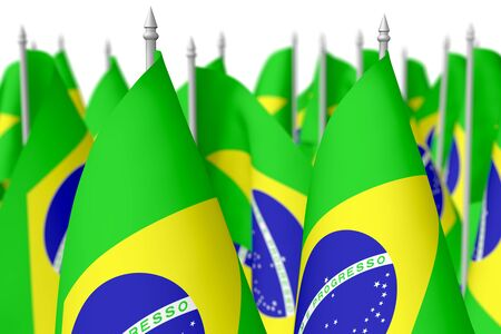 federative republic of brazil: Many small flags of Federative Republic of Brazil isolated on white background, 3d illustration, selective focus, shallow depth of field