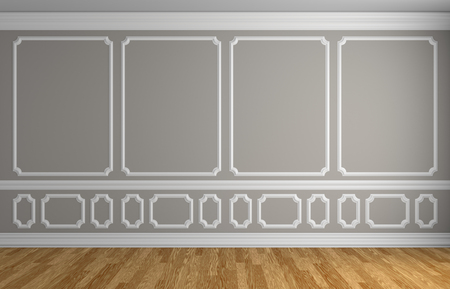 baseboard: Simple classic style interior illustration - gray wall with white decorative elements on the wall in classic style empty room with wooden parquet floor with white baseboard, 3d illustration interior