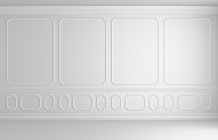 molding: Simple classic style interior illustration - white wall with white decorative elements on the wall in classic style empty non-color room with wooden parquet floor with white baseboard, 3d illustration interior