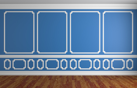 baseboard: Simple classic style interior illustration - blue wall with white decorative elements on the wall in classic style empty room with wooden parquet floor with white baseboard, 3d illustration interior Stock Photo