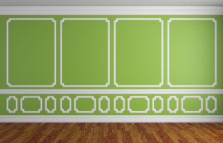 baseboard: Simple classic style interior illustration - green wall with white decorative elements on the wall in classic style empty room with wooden parquet floor with white baseboard, 3d illustration interior Stock Photo