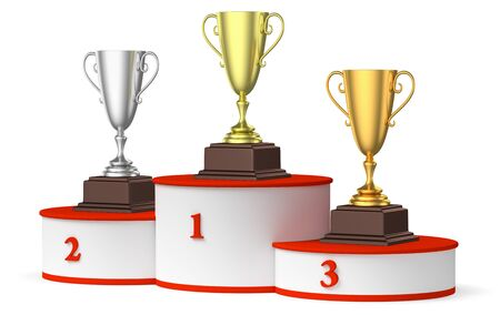 Sports winning and championship and competition success concept - golden, silver and bronze winners trophy cups on the round sports pedestal, white winners podium with red stairs 3d illustration