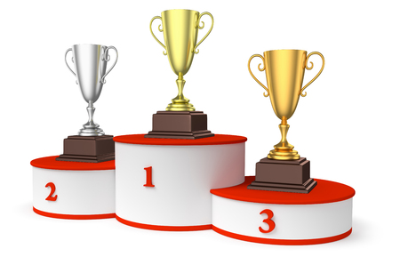 Sports winning and championship and competition success concept - golden, silver and bronze winners trophy cups on round sports pedestal, white winner podium with red stairs, diagonal, 3d illustration Stock Photo
