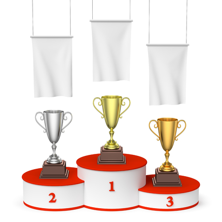 Sports winning, competition and championship  success concept - three winners trophy cups on round sports pedestal, white winners podium with red stairs and blank white flags, 3d illustration Stock Photo