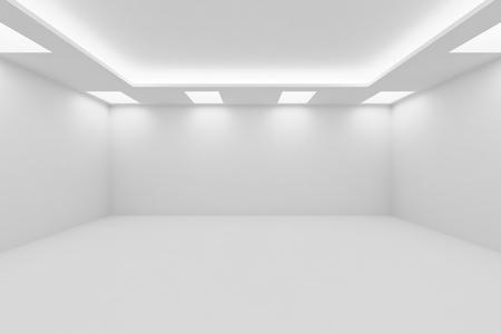 抽象的なアーキテクチャ ホワイト ルーム インテリア - 正方形の天井のランプと隠された天井のライト、3 d イラストレーションの空スペースと白い