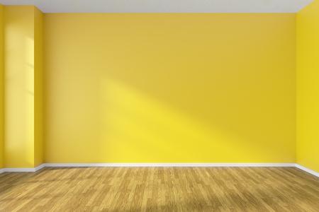 flooring: Empty room with hardwood parquet floor, yellow walls and sunlight from window on the wall, minimalist interior, 3d illustration