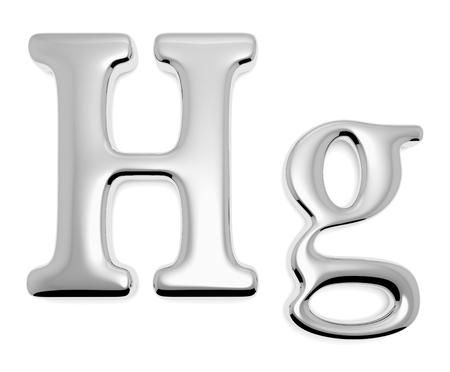 Shiny mercury metal chemical element Hg sign of toxic mercury metal liquid isolated on white, 3d illustration
