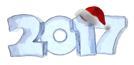 Happy New Year creative holiday concept - 2017 new year sign text written with numbers made of clear blue ice with Santa Claus fluffy red hat, New Year 2017 winter symbol, 3d illustration, isolated on white Stock Photo