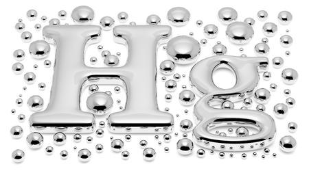 小さな光沢のある水銀 (Hg) 金属滴と水銀毒性金属の元素記号と白い背景、3 d イラストレーションに分離された有毒な水銀液体の液滴 写真素材