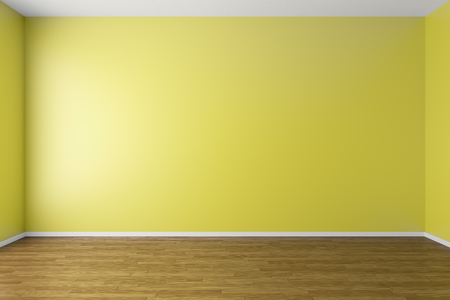 skylight: Empty room with yellow walls, dark brown hardwood parquet floor and soft skylight from window, simple minimalist interior architecture background with copy-space, 3d illustration Stock Photo