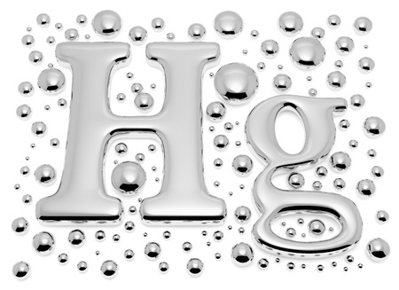Small shiny mercury (Hg) metal chemical element sign of toxic mercury metal with small drops and droplets of toxic mercury liquid isolated on white background closeup view, 3d illustration Stock Photo