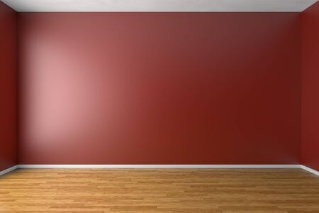 Empty room with red walls, brown hardwood parquet floor and soft skylight from window, simple minimalist interior architecture background with copy-space, 3d illustration Stock Photo