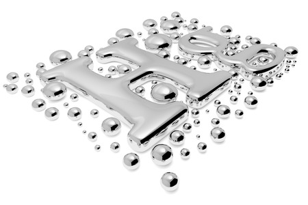Small shiny mercury (Hg) metal chemical element sign of toxic mercury metal with drops and droplets of toxic mercury liquid isolated on white, diagonal view, 3d illustration