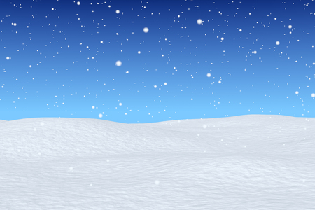 White snowy field, snowfall and bright  winter blue sky, winter snow background, wintertime greeting card, 3d illustration