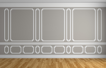 Gray wall with white decorative moldings elements on wall in classic style empty room with wooden parquet floor and white baseboard, classic style architectural background 3d illustration interior