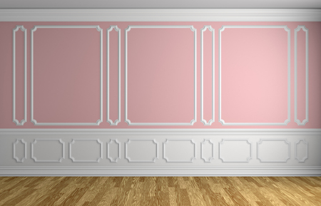 flooring: Pink wall with white moldings and decorations on wall in classic style empty room with wooden parquet floor and white baseboard, classic style architectural background 3d illustration interior