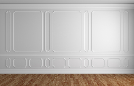 skirting: White wall with white decorative moldings elements on wall in classic style empty room with wooden parquet floor and white baseboard, classic style architectural background 3d illustration interior