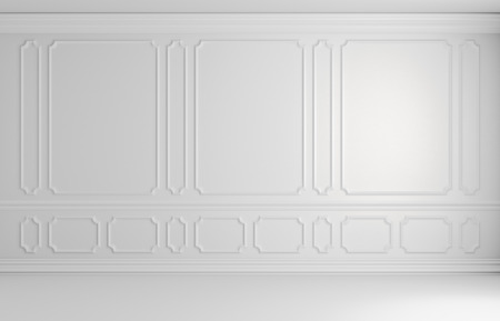 White wall with white decorative moldings elements on wall in classic style empty room, classic style non-color colorless architectural background 3d illustration interior Stok Fotoğraf