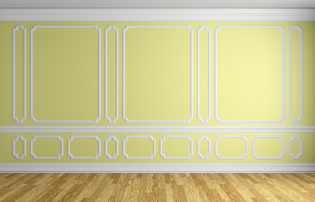 White Wall With White Decorative Moldings Elements On Wall In ...