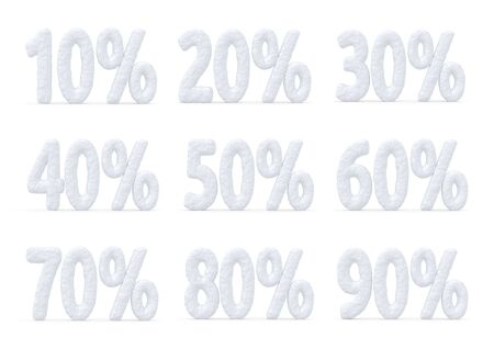 cut off: Winter retail, sale, commercial and business advertisement creative abstract concept, christmas sale discount offer, snowy special price percents cut off text collection made of snow isolated on white