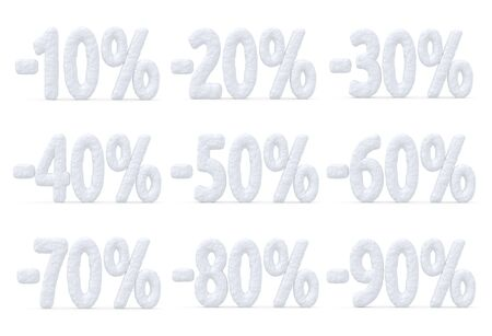 cut off: Winter retail, sale, commercial and business advertisement creative abstract concept, christmas sale discount offer, snowy special percent price cut off text collection made of snow isolated on white