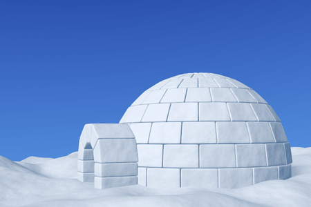 northpole: Winter north polar snowy landscape - eskimo house igloo icehouse made with white snow on the surface of snow field under cold north blue sky closeup 3d illustration Stock Photo