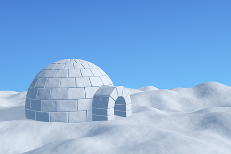 northpole: Winter north polar snowy landscape - eskimo house igloo icehouse made with white snow on the surface of snow field under cold north blue sky closeup view 3d illustration Stock Photo