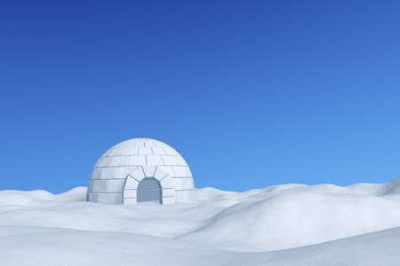 Winter north polar snowy landscape - eskimo house igloo icehouse made with white snow on the surface of snow field under cold north winter blue sky 3d illustration