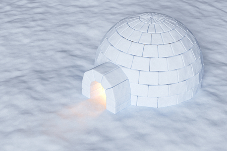 arctic landscape: Eskimo house igloo icehouse with warm light inside made with snow at night on the surface of snow field aerial view 3d illustration