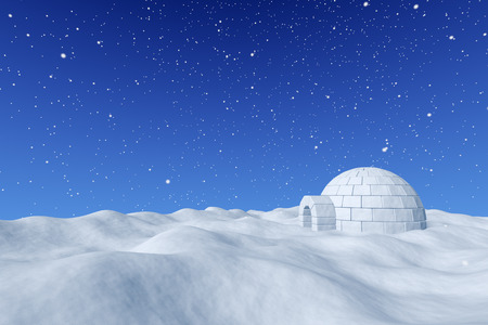 Winter north polar snowy landscape - eskimo house igloo icehouse made with white snow on surface of snow field under cold north blue sky with snowfall 3d illustration Stock Photo