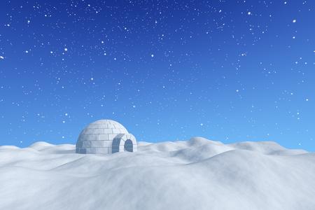 Winter north polair besneeuwde landschap - eskimo huis iglo ijskelder gemaakt met witte sneeuw op het oppervlak van de sneeuw veld onder de koude noorden blauwe hemel met sneeuwval, 3d illustratie Stockfoto