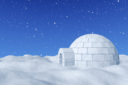 snowlandscape: Winter north polar snowy landscape - eskimo house igloo icehouse made with white snow on surface of snow field under cold north blue sky with snowfall 3d illustration.