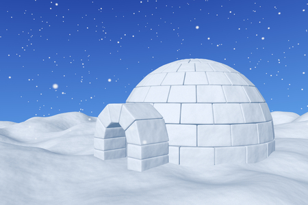 Winter north polar snowy landscape - eskimo house igloo icehouse made with white snow on the surface of snow field under cold north blue sky with snowfall closeup 3d illustration Stock Photo