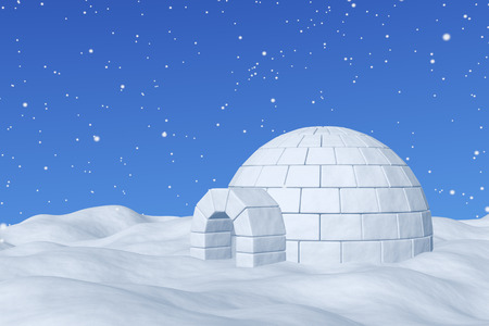 northpole: Winter north polar snowy landscape - eskimo house igloo icehouse made with white snow on the surface of snow field under cold north blue sky with snowfall 3d illustration Stock Photo