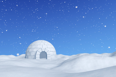 Winter north polar snowy landscape - eskimo house igloo icehouse made with white snow on snow surface of snow field under cold north blue sky with snowfall, 3d illustration