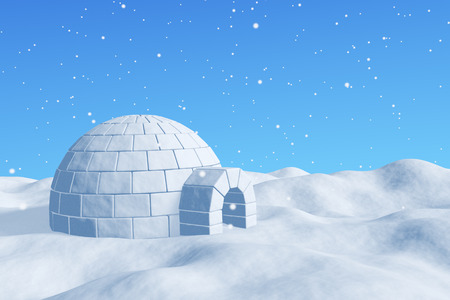 northpole: Winter north polar snowy landscape - eskimo house igloo icehouse made with white snow on the surface of snow field under cold north blue sky under snowfall 3d illustration Stock Photo
