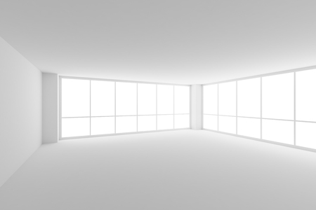 glass ceiling: Business architecture white colorless office room interior - empty white business office room with white ceiling, floor, walls and two large windows and empty space, 3d illustration.