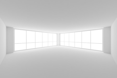 wide angle: Business architecture white colorless office room interior - empty white business office room with white floor, ceiling, walls and two large windows and empty space, 3d illustration, wide angle view